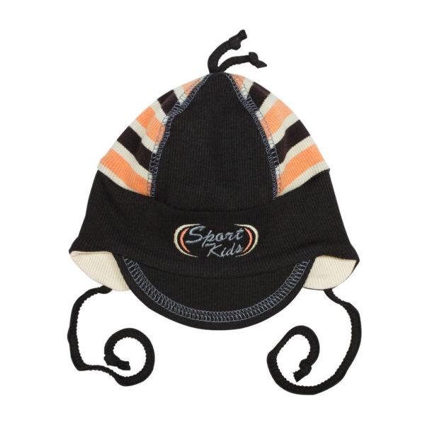 1059-ciapka-hneda-s-oranzovou-na-viazanie-kids-cap-orange
